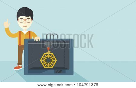 An asian man standing with 3D printer and a raised hand  vector flat design illustration isolated on blue background. Horizontal layout with a text space.