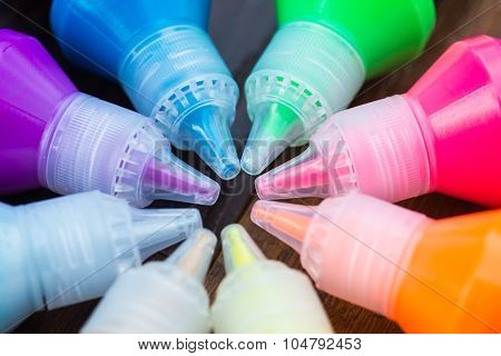 Colorful Paint - Bottles With Colorful Dry Pigments On Wooden Background