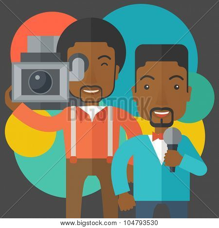 An African American cameraman filming a reporter vector flat design illustration. Square layout.