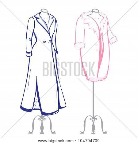 Short And Long Coat Female Mannequins Dressed In The Made In Thumbnail Style
