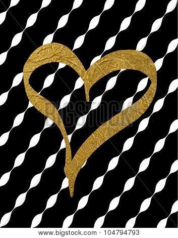 Gold foil heart on black stripe background
