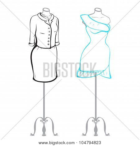 Business Suit And Wearing Women's Clothes On Mannequins Made In Thumbnail Style