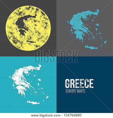 Greece Grunge Retro Map