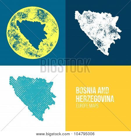 Bosnia And Herzegovina Grunge Retro Map