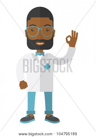 A friendly African American hipster doctor in glasses and medical gown shows sign all OK vector flat design illustration isolated on white background. Vertical layout.