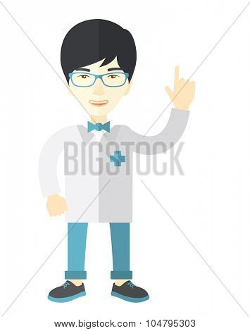 A happy Asian doctor in glasses and medical gown showing finger up vector flat design illustration isolated on white background. Vertical layout.