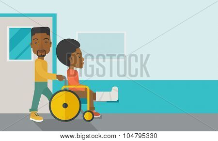 An african-american man carrying a patient with broken leg in the wheelchair vector flat design illustration. Horizontal layout with a text space for a social media post.