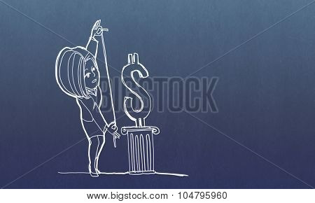 Caricature of woman measuring dollar sign on blue background