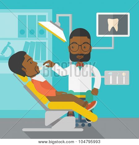 An African American dentist man examines a patient teeth in the clinic vector flat design illustration. Square layout.