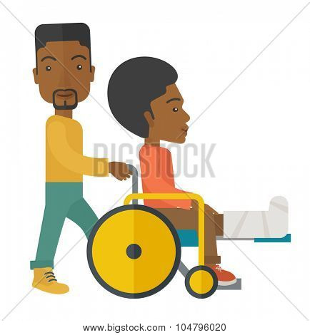 An African American man carrying a patient with broken leg in the wheelchair vector flat design illustration isolated on white background. Square layout.