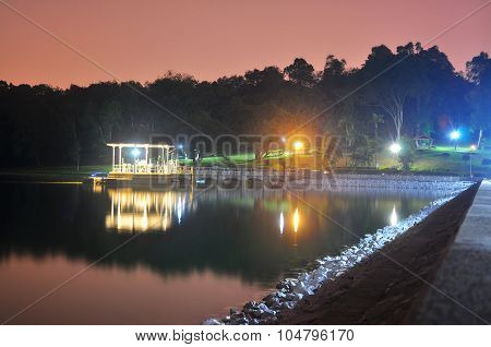 Lower Peirce Reservoir with lighted gazebo