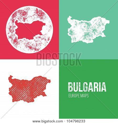 Bulgaria Grunge Retro Map