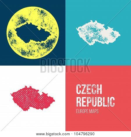 Czech Republic Grunge Retro Map