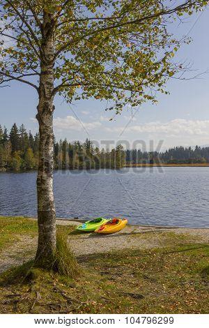 Kayaks At Lake Shore Kirchsee