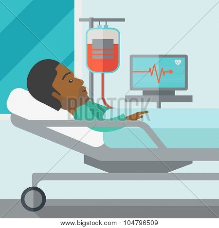 An African American patient lying in hospital bed with heart rate monitor and drop counter vector flat design illustration. Square layout.
