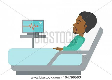 An african-american patient lying in hospital bed with heart rate monitor isolated on white background. Horizontal layout with a text space for a social media post.