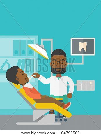 An African American dentist man examines a patient teeth in the clinic vector flat design illustration. Vertical poster layout with a text space.