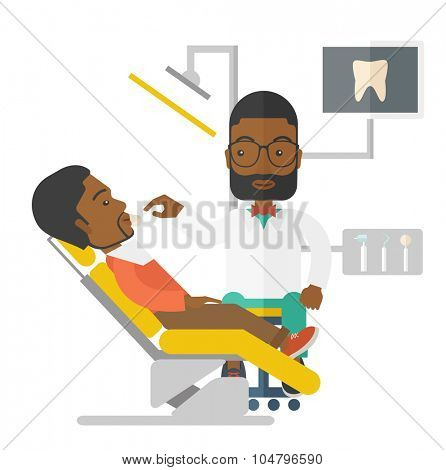 An African American dentist man examines a patient teeth in the clinic vector flat design illustration isolated on white background. Square layout.