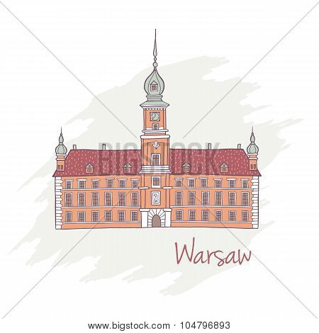 Handdrawn Royal Castle in Warsaw Poland