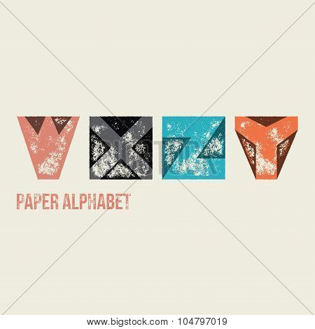 W X Y Z - Grunge Retro Paper Type Alphabet