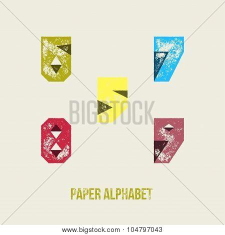 5 6 7 8 9 - Grunge Retro Paper Type Alphabet