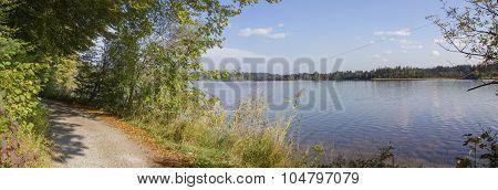 Lakeside Walkway Around Kirchsee, Idyllic Natural Landscape