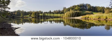 Scenic Autumnal Landscape, Tranquil Pond With Water Reflection,