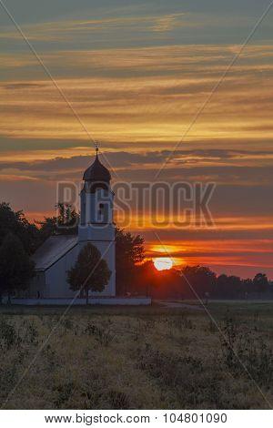 Pilgrimage Chapel In Sunset Scenery
