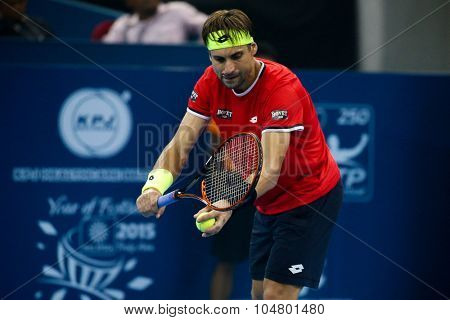 KUALA LUMPUR, MALAYSIA - OCTOBER 03, 2015: Spain's tennis player David Ferrer prepares to serve at the 2015 Malaysian Open tennis tournament from Sep 26 - Oct 4, 2015 in Stadium Putra.