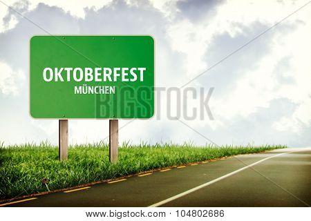 Oktoberfest munchen against billboard on road