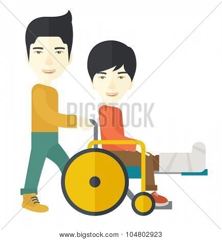 An asian man carrying a patient with broken leg in the wheelchair vector flat design illustration isolated on white background. Square layout.