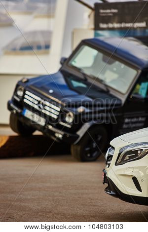 Kiev, Ukraine - OCTOBER 10, 2015: Mercedes Benz star experience. The interesting series of test driv