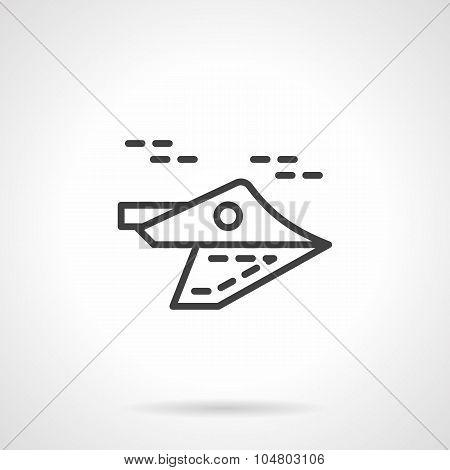 Black line aeroplane vector icon.