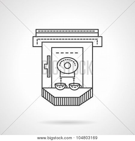 Flat line industrial coffee machine vector icon
