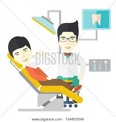 An Asian dentist man examines a patient teeth in the clinic vector flat design illustration isolated on white background. Square layout.