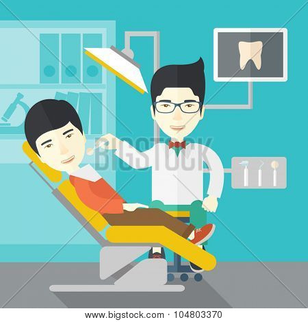 An Asian dentist man examines a patient teeth in the clinic vector flat design illustration. Square layout.