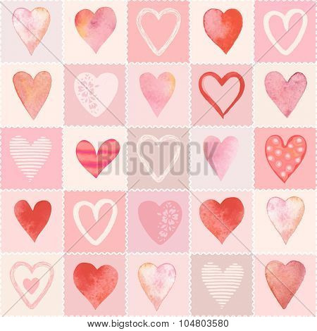Seamless pattern from the collection of hearts on patchwork background.