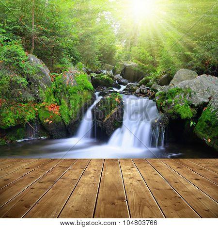 Waterfall on a mountain creek