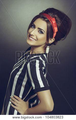Classy Brunette Woman In Retro Attire