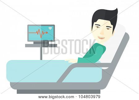 An Asian patient lying in hospital bed with heart rate monitor isolated on white background. Horizontal layout.