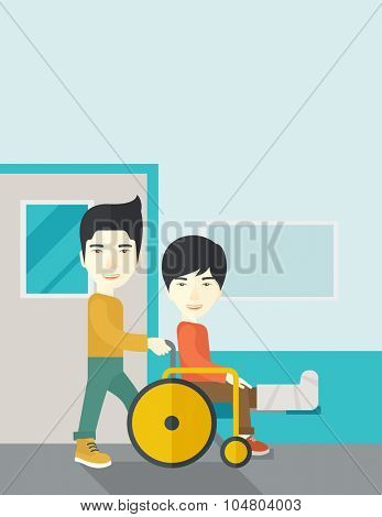 An Asian man carrying a patient with broken leg in the wheelchair vector flat design illustration. Vertical layout with a text space.