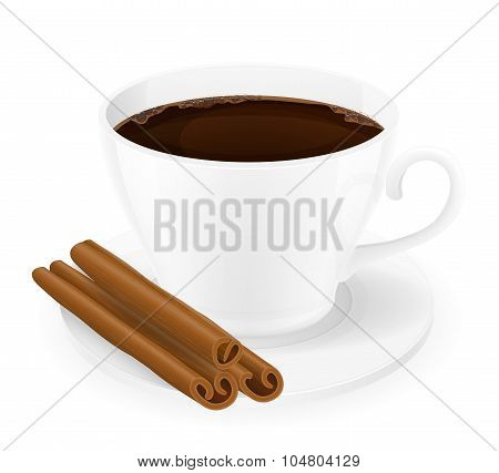 Cup Of Coffee With Cinnamon Sticks Vector Illustration