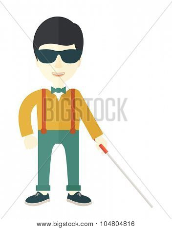 An Asian blind man in dark glasses standing with walking stick vector flat design illustration isolated on white background. Vertical layout.