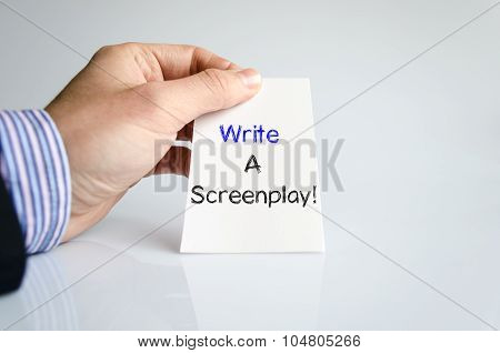 Write a screenplay text concept isolated over white background