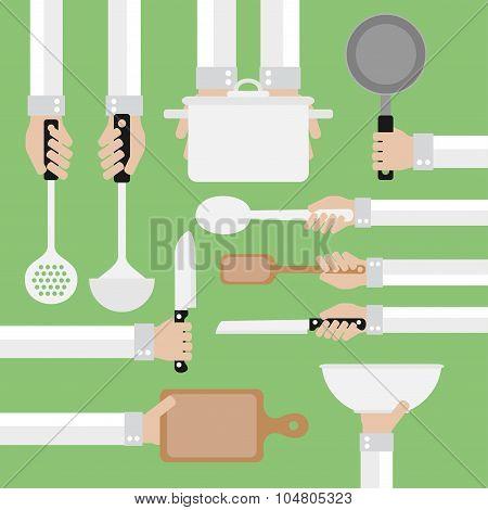 Design concept flat,cooking tools