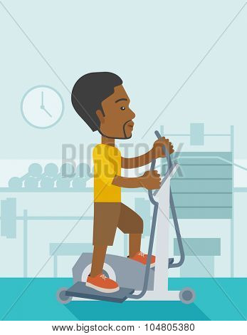 An African American man exercising on a elliptical machine in the gym vector flat design illustration. Vertical layout with a text space.