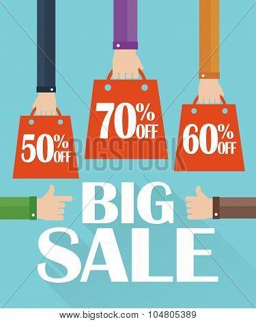 Flat design big sale, shopping bag