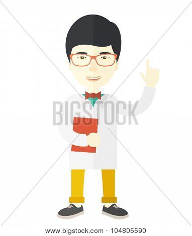 A happy asian doctor in glasses holding a notepad and showing finger up vector flat design illustration isolated on white background. Vertical layout.