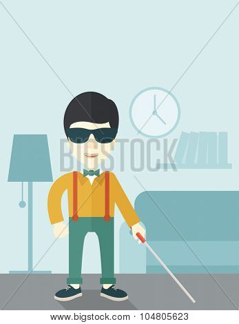 An Asian blind man in dark glasses standing with walking stick inside the house vector flat design illustration. Vertical layout with a text space.