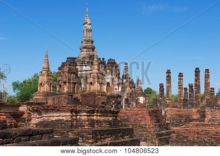 View to the ruins of Wat Mahathat in Sukhothai Historical park Sukhothai Thailand.